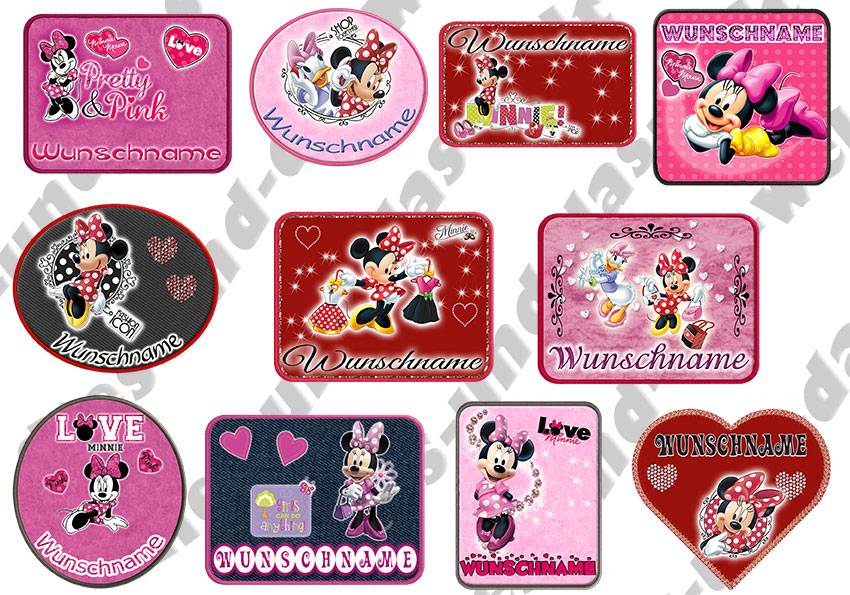 minnie mouse maus b gelbilder 11 motive helle od dunkle stoffe name neu ebay. Black Bedroom Furniture Sets. Home Design Ideas
